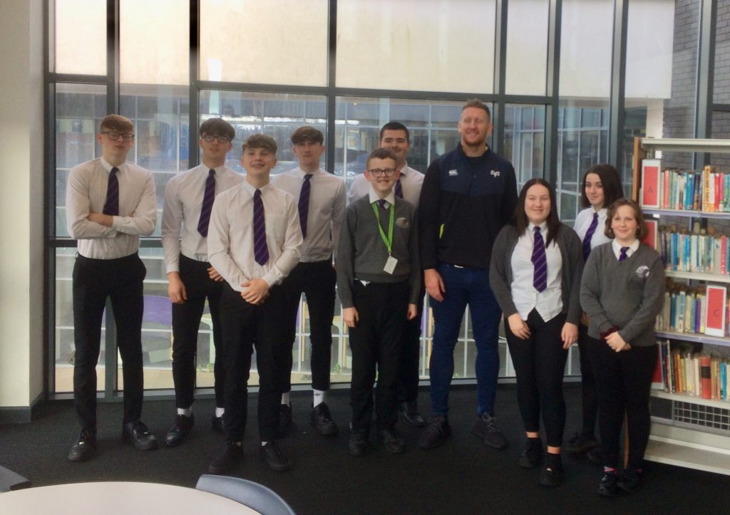 Ospreys Player, Bradley Davies visits CCYD Tackle Project