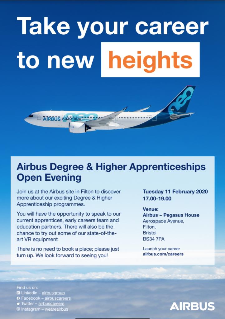 Airbus Degree & Higher Apprenticeships Open Evening